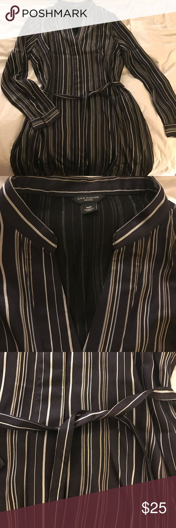 Ann Taylor Petite shirt dress. Size medium Shirt dress. Navy blue with white, yellow, and light blue stripes. Ties at the waist. Size medium. NWOT Ann Taylor Dresses Long Sleeve