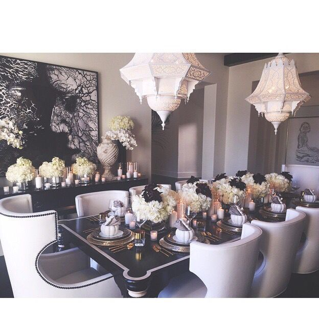 Khole Kardashian's dining room. Stunning!