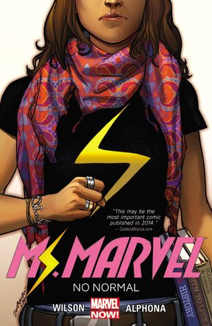 """Ms. Marvel. Vol. 1, No normal"", by G. Willow Wilson & Adrian Alphona & Ian Herring & Joe Caramagna - Kamala Khan is an ordinary girl from Jersey City — until she's suddenly empowered with extraordinary gifts. But who truly is the new Ms. Marvel? Teenager? Muslim? Inhuman? Kamala has no idea, either. But she's comin' for you, Jersey!"
