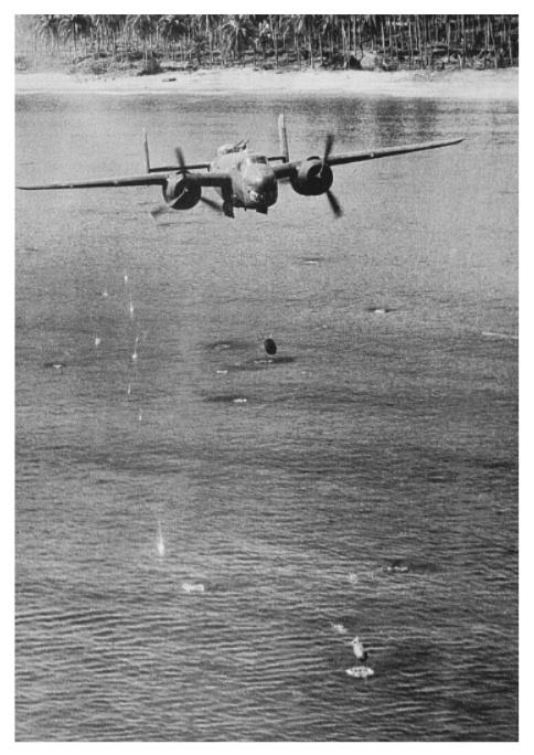 A-20 skip-bombing at Wewak, New Guinea.