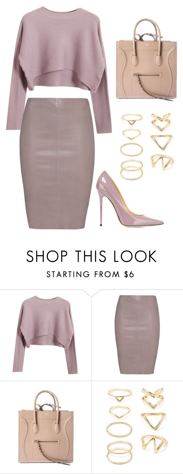 """mauve."" by nataaliiee95 on Polyvore featuring Chicnova Fashion, Jitrois, CÉLINE, Forever 21 and Jimmy Choo"