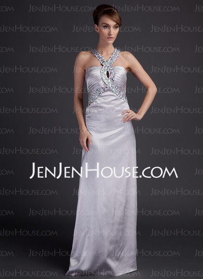 Evening Dresses - $149.79 - Halter Court Train Charmeuse Evening Dresses With Ruffle Beading (017015795) http://jenjenhouse.com/Halter-Court-Train-Charmeuse-Evening-Dresses-With-Ruffle-Beading-017015795-g15795