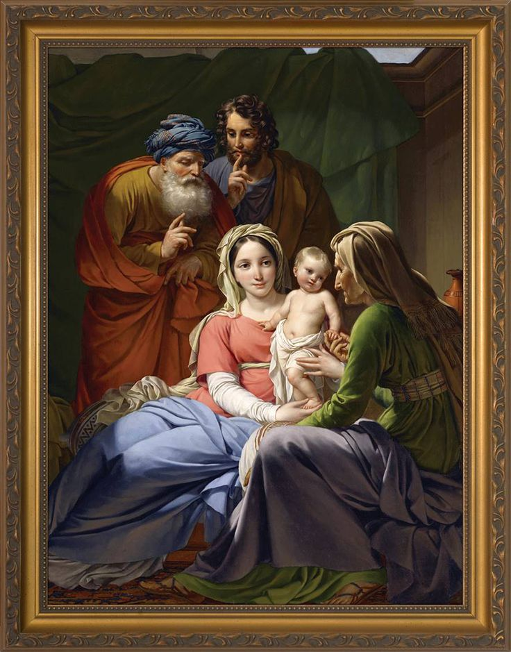 Holy Family with Grandparents 8 x 10 In the year 1820, a Belgian artist named Joseph Paelinck blessed the world with this beautiful and intimate depiction of the Holy Family, unique in that it features not only Jesus, Mary, and Joseph, but also the Grandparents of our Lord, St. Joachim an...