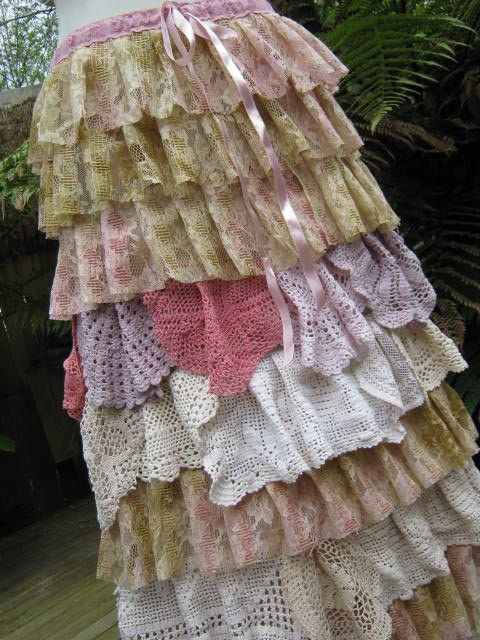 VINTAGE KITTY.. LONG LAYERED LACE SKIRT.. by sistersroseandruby