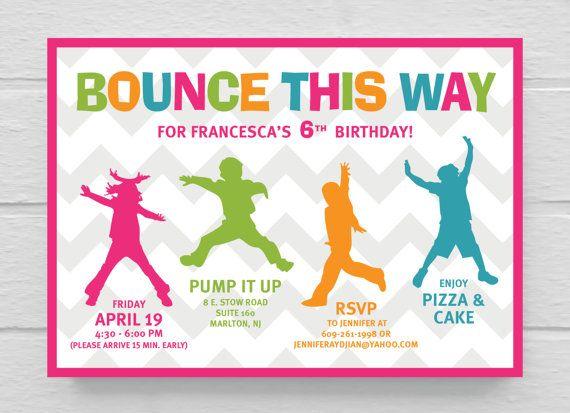 Printable Bounce Birthday Party Invitation   Parties   Pinterest   Birthday party invitations ...