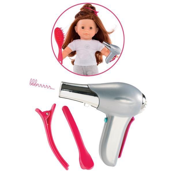 Flot sæt med dukketilbehør fra Corolle, med føntørre og hårspænder. Perfekt til brug i leg med at sætte hår i de fineste frisurer. Er del afserie med dukketøj
