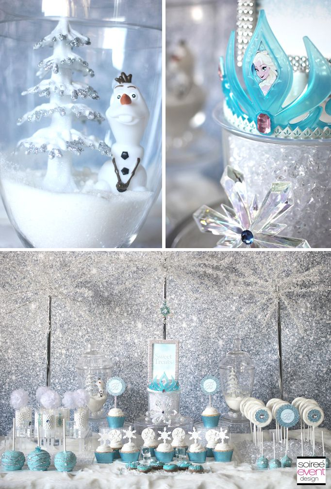 Use sugar to represent snow and acrylic gems to represent ice!  Cute idea for a Frozen party by Soiree-EventDesign.com/blog