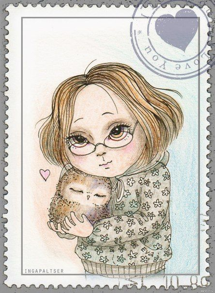 'Owls' by Inga Paltser--I should draw a wannabe postage stamp.  :-)