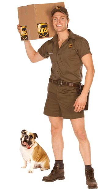 """Kyle: """"UPS"""" button-up t-shirt with brown shorts, brown ..."""
