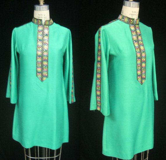 Vintage 60s MOD Hippie NEHRU Style DRESS A-line by Cuckoochenille