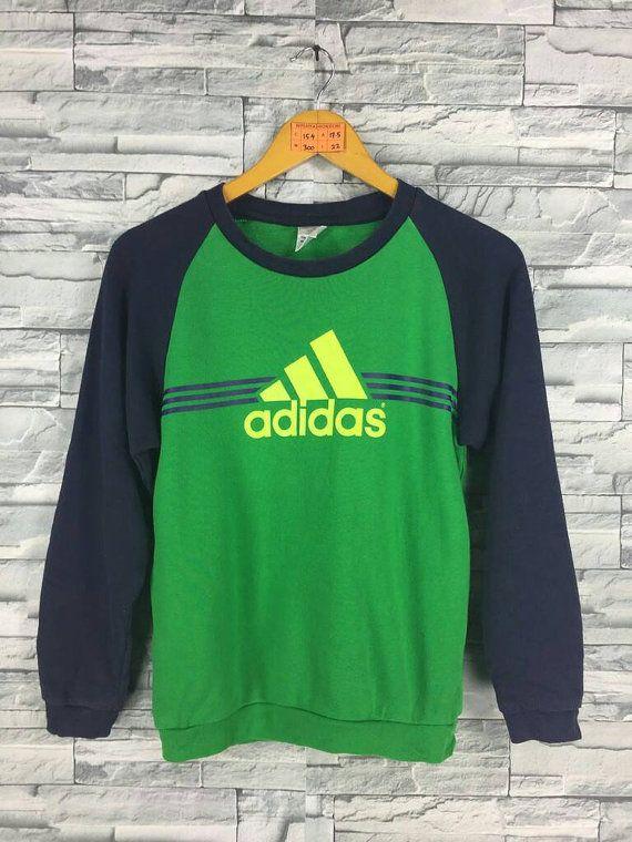 3d4630cf8 Vintage 90s ADIDAS Equipment Sweatshirt Women Small Adidas Big Logo Green  Streetwear Three Stripes Crewneck Jumper Adidas Sweater S