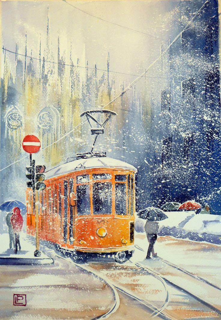 """""""Il Duomo e il tram.""""acquerello 35x51 di Lorenza Pasquali Paintings N.D. www.lorenzapasquali.it  Copyright © Lorenza Pasquali —"""