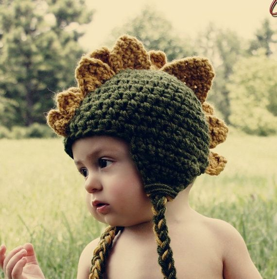 Baby Dinosaurier häkeln Hut grün und Senf von HatAndColdCrochet