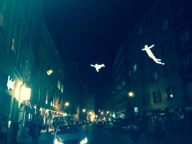Flying angels at Dlouha street near Lokal restaurant