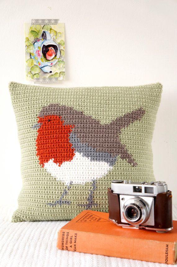 Robin Cushion Crochet Pattern Pillow Wildlife by LittleDoolally
