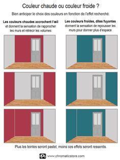 Couleur chaude ou couleur froide ? Bien anticiper le choix des couleurs en fonction de l'effet recherché. www.chromaticstore.com #couleur #déco #pièce
