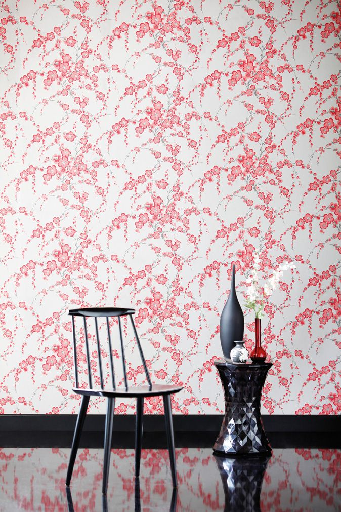 Mimi wallpaper from Harlequin's Boutique collection features enchanting elegant sprays of interlacing blossoms.