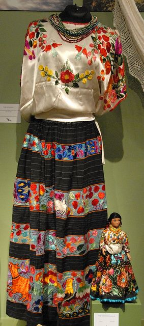 Mexican Costume Guerrero  This huipil and enredo (wrap) skirt are worn by the Nahua women from Acatlan, Guerrero Mexico. The doll is wearing a miniature version of the same traje. This was part of an exhibition at the Museo de Arte Popular in Mexico City, Mexico