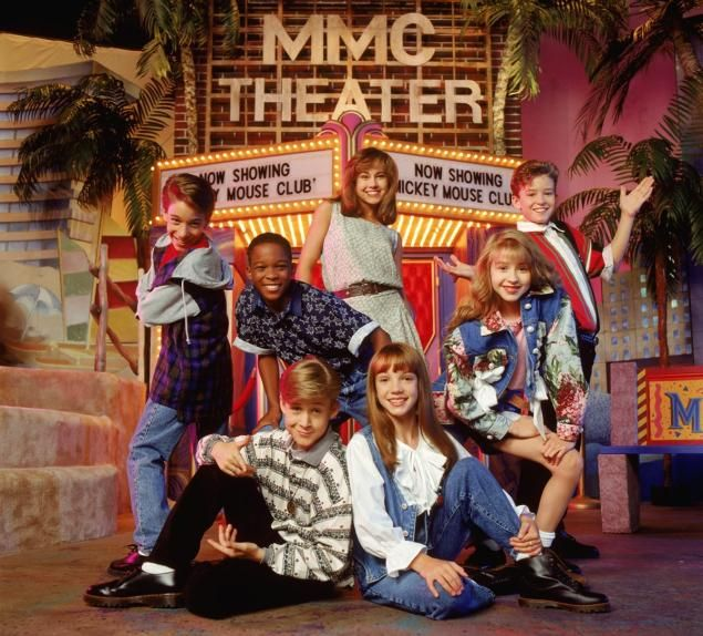 The Mickey Mouse Club, (clockwise from upper center): Nikki DeLoach, Justin Timberlake, Christina Aguilera, Britney Spears, Ryan Gosling, T.J. Fantini and Tate Lynche, in 1994.