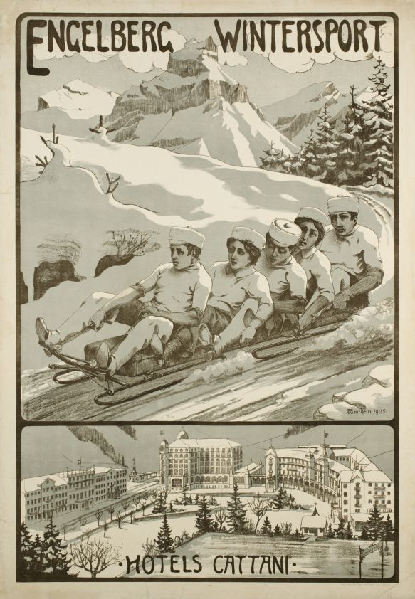 Engelberg wintersport, Hotels Cattani (by Amrhein Wilhelm / 1905) One of the oldest wintersport posters printed in stone-lithography in 1905, for Engelberg a famous resort in the Swiss Alps. Extremely rare and prized.