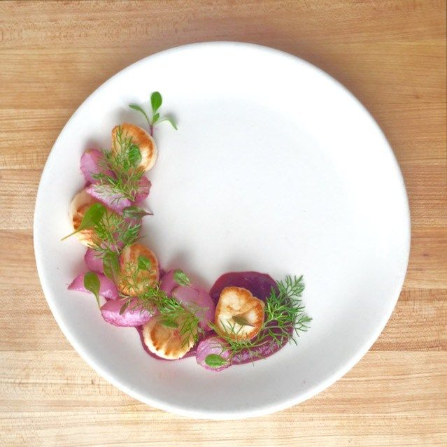 Romantic Dinner Seared Scallops With Beets And Butter Braised Radishes A Beautiful