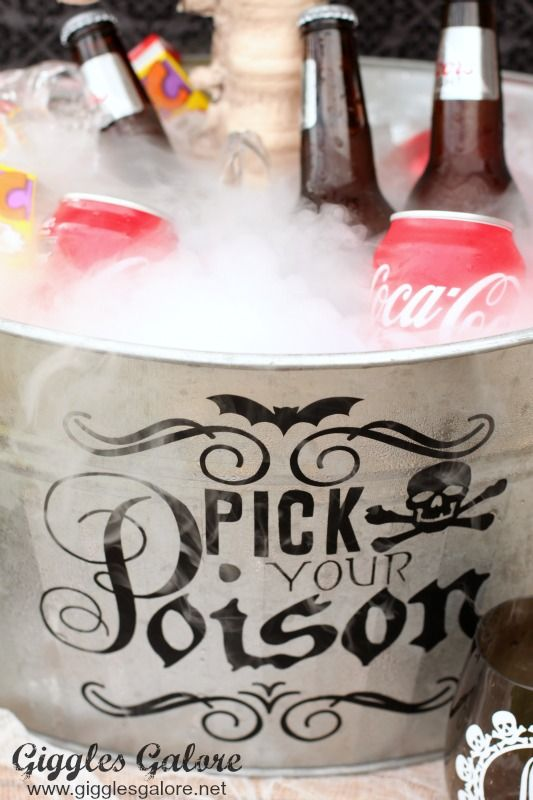 Pick Your Poison Dry Ice Bucket. Like the phrase to be present for a Halloween Party.