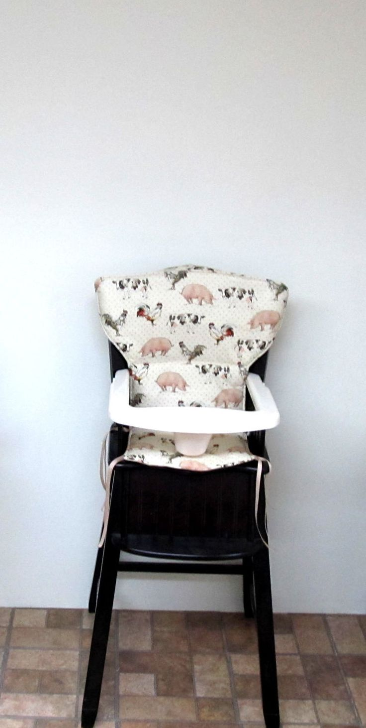 high chair cover, Eddie Bauer Newport replacement high chair pad, kids feeding chair pad, baby accessory, Safety First chair, on the farm by SewingsillySister on Etsy