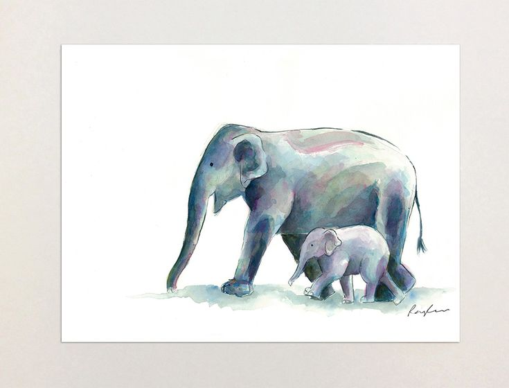 Elephant & Baby - A4 Print of Orginial Watercolour Painting