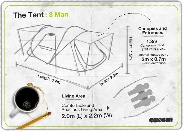 Our new 3 man tent is the largest 3 man pop up tent in the world. The tent is big enough for up to three people, with two doors and loads of extra storage. Cinc