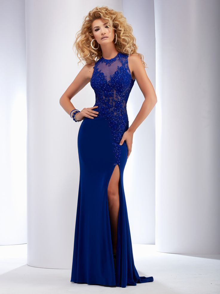 Clarisse 2016 prom dress style 2503 in Royal Blue. Long, sexy fitted prom dress with lace details and slit. Find retailers: http://clarisse.us/locator/index.php