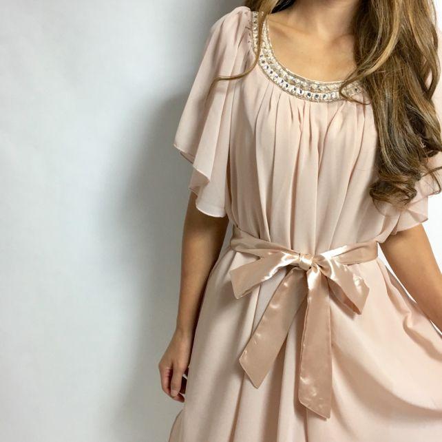 新品☆綺麗めベージュ 結婚式ドレス シフォン 2way(¥4,980)がフリマアプリ フリルで販売中♪ #fril #フリマ