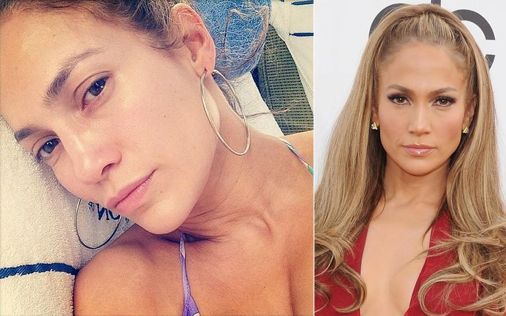 """J.Lo wants you to see just how flawless she really is! The singer posted a bare-faced selfie to Instagram (l.), wearing a bikini, a pair of hoop earrings and not a single speck of the usual makeup we've come to expect on the red carpet. """"No makeup day! #realface #trueselfie #iwokeuplikethis"""" the """"American Idol"""" judge captioned the snapshot."""