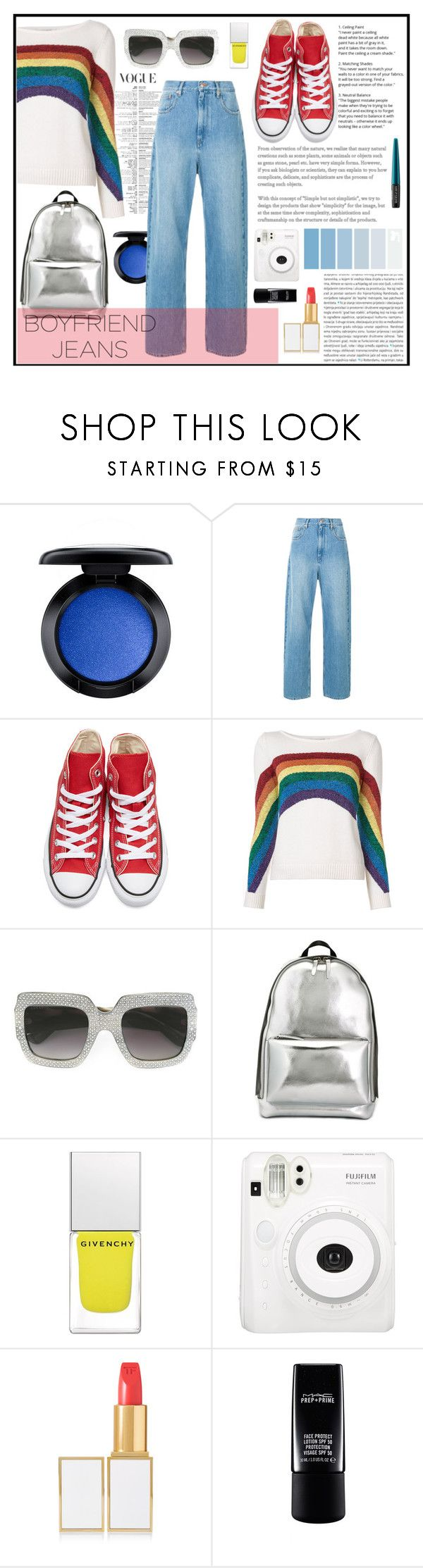 """Colourful Casual"" by zippy135 ❤ liked on Polyvore featuring MAC Cosmetics, Converse, Marc Jacobs, Gucci, 3.1 Phillip Lim, Givenchy, Tom Ford, Oris and MAKE UP FOR EVER"