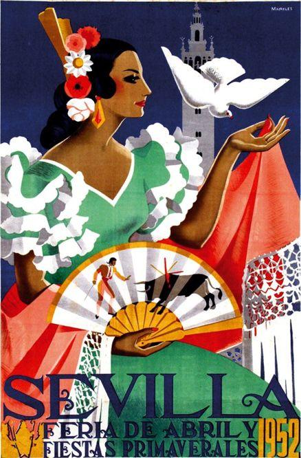 Poster by Maireles, 1952,  Sevilla Feria de Abril, Spain.