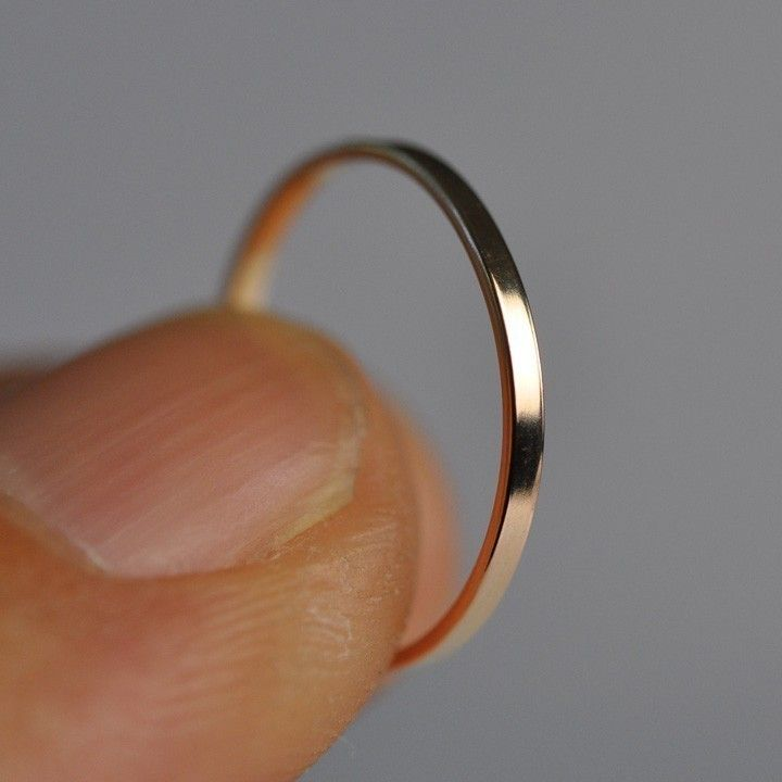 Skinny 1mm 14k Rose Gold Ring, Smooth Texture, size 3 through 6, any size available, Sea Babe Jewelry. $93.00, via Etsy.