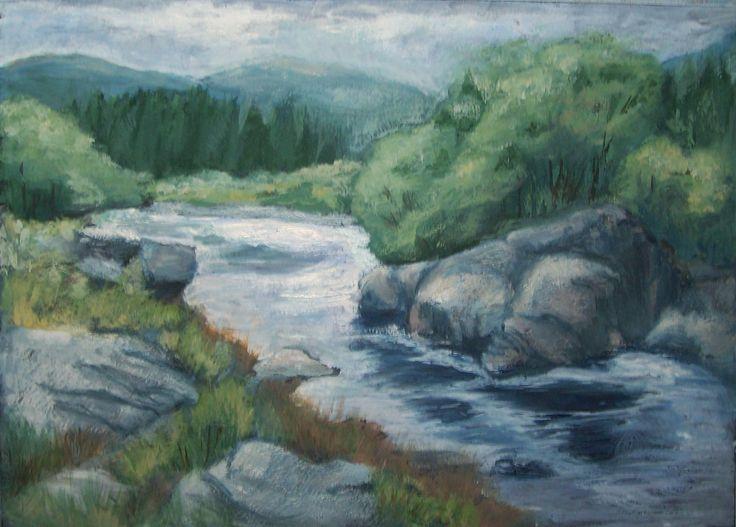 Orchy River, Scotland.  Gouache.  7x11 inches.