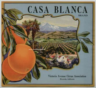 Riverside, CA; Vintage Orange Crate Labels on wood boxes for centerpieces