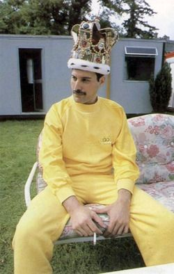 I want to someday casually rock a powder yellow sweatsuit and a giant, pompous crown as properly as Freddie could. More