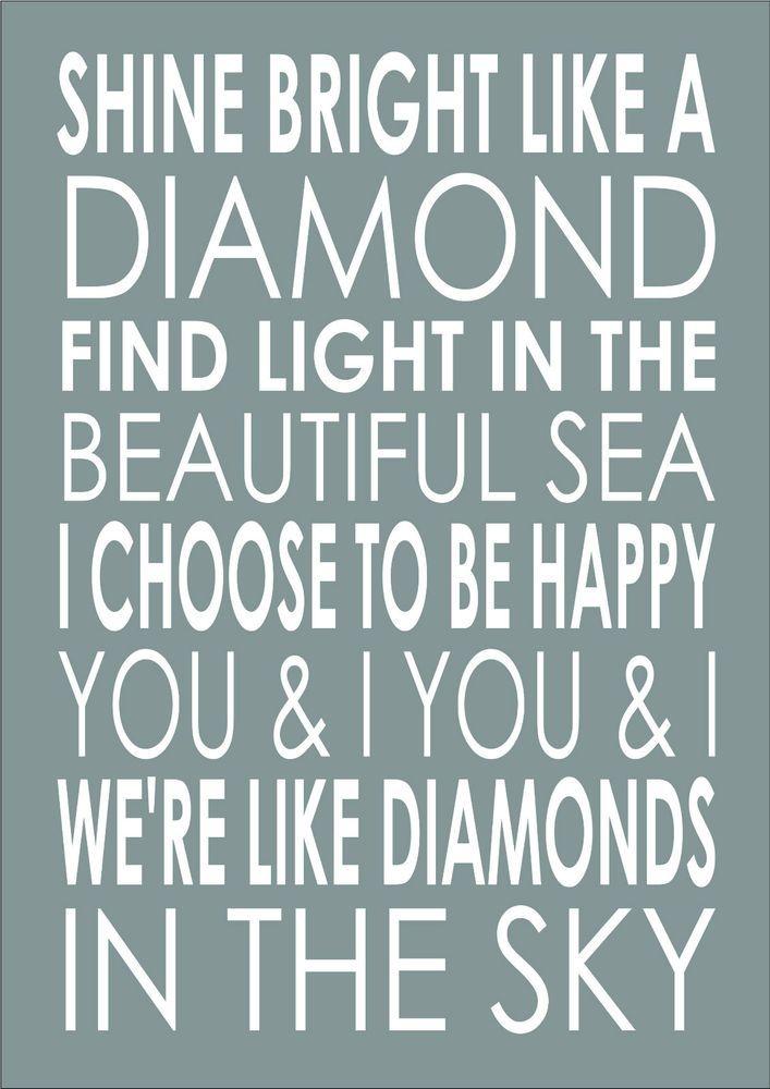Shine Bright Like A Diamond Rihanna Song Lyrics Wedding Engagement Word Wall Art