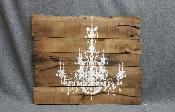 Chandelier painting pallet wall art shabby chic for Pallet shabby chic
