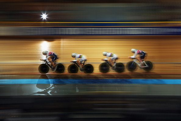 Joanna Rowsell of Great Britain leads team mates Laura Trott, Elinor Barker and Katie Archibald during qualifying for the Women's Team Pursuit on day one of the 2013 European Elite Track Championship at Omnisport Apeldoorn on October 18, 2013 in Apeldoorn, Netherlands. (October 17, 2013 - Source: Bryn Lennon/Getty Images Europe)