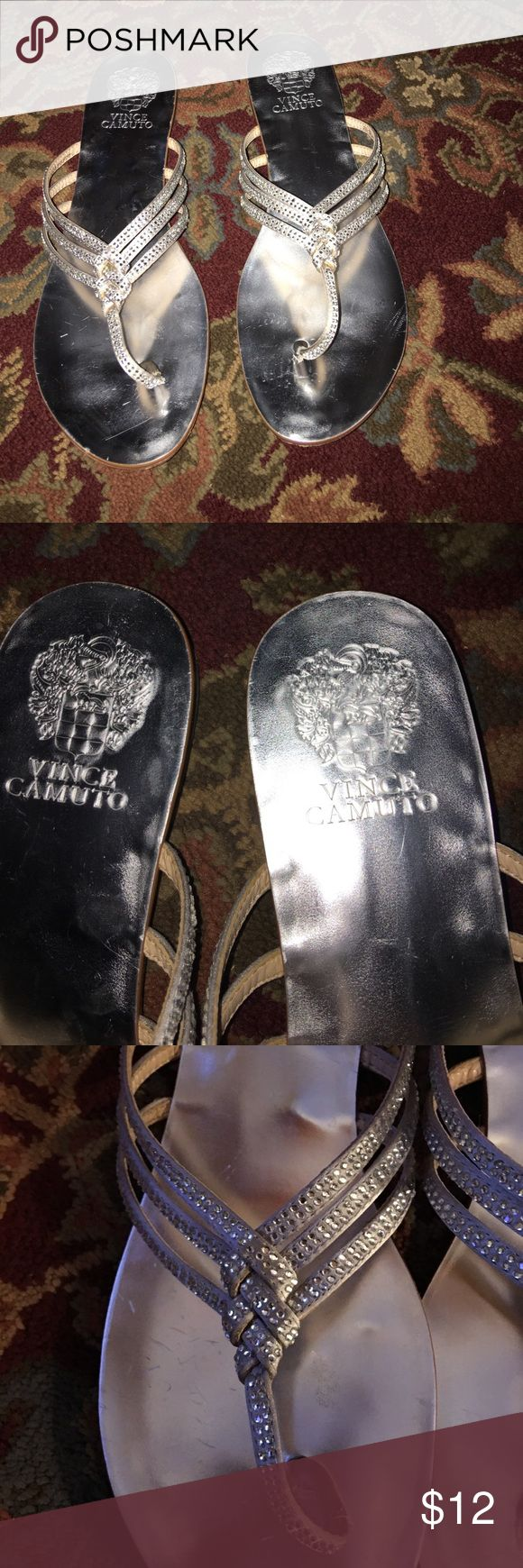 Vince Camuto silver flip flop sandals very pretty Vince Camuto silver flip flop sandals very pretty  Size 8 these could also fit an 8.5  EUC  Smoke free home  Maltipoo family member Vince Camuto Shoes Sandals