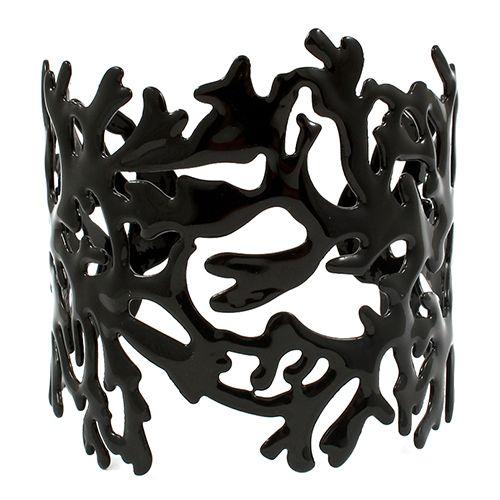 Coral Black Enamel Cuff