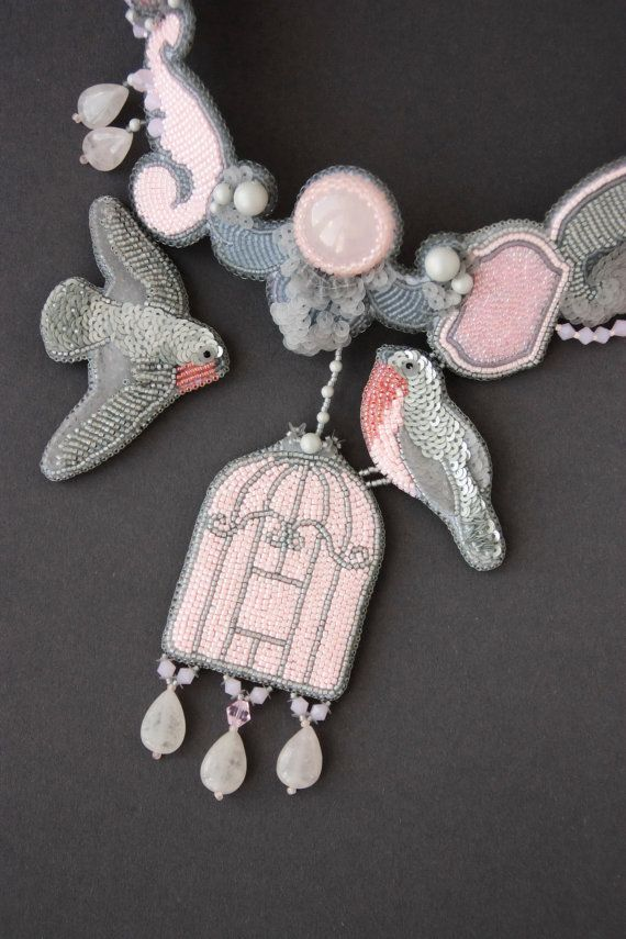 Necklace handmade beaded Embroidery birds by ArtBeadedHouse