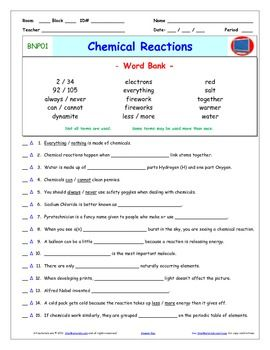 """Bill Nye - Chemical Reactions  Worksheet, Answer Sheet, and Two Quizzes for Bill Nye - The Science Guy** Videos.         ***** Preview is an full sample of a similar video.***** Differentiated Video Guides, Worksheets and Quizzes for Bill Nye - The Science Guy** Videos.This package includes eleven pages:      1- An Answer Key     2- A """"Word Bank"""" Video Guide     3- A """"Word Bank"""" Reusable Quiz     4- A """"Word Bank Individual Quiz     5- A Fill-In-The-Blank Video Guide     6- A…"""