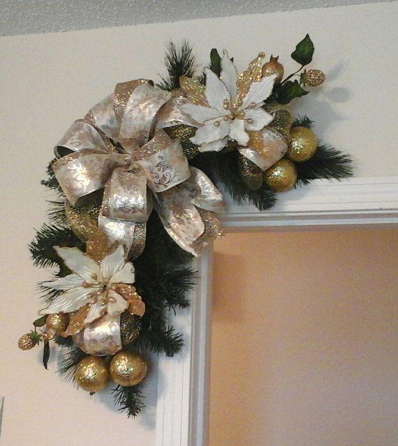 Christmas Swag Corner Door Wreath Elegant by GiftsByWhatABeautifu