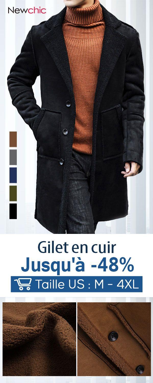 Mélangée En Long Manteau Pour Chaude Mi Laine Hommes nkPwO80X