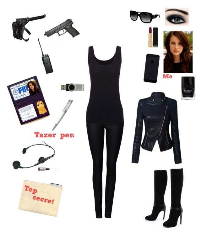 """""""Secret agent/ FBI agent"""" by vickybear16 ❤ liked on Polyvore featuring Witchery, Boody, COSTUME NATIONAL, Holster, Chloé, Motorola, Max Factor, Chanel and Swarovski"""