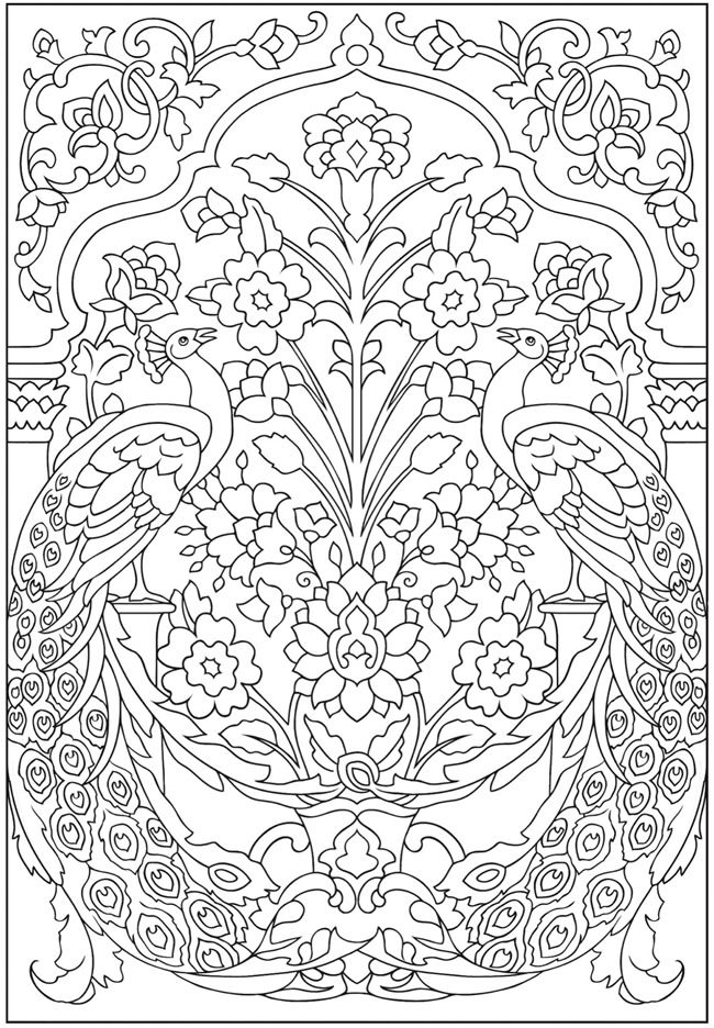 peacocks and flowers creative haven peacock designs coloring book dover publications - Dover Coloring Books For Adults