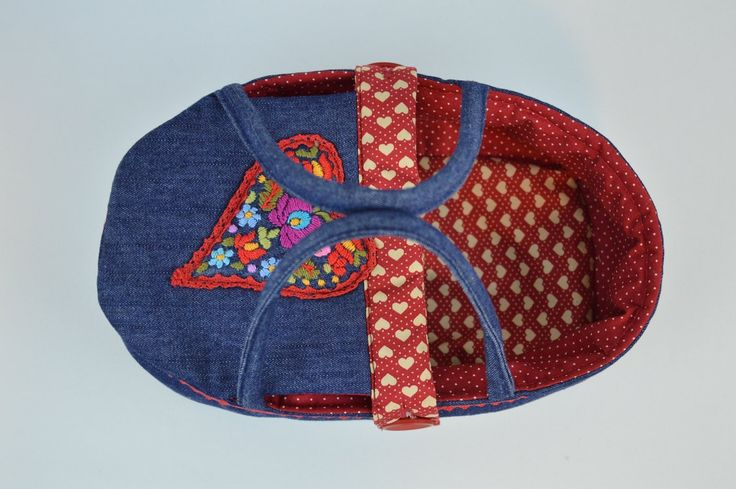 READY TO SHIP - mini doll carrier, bassinet, doll bed - waldorf toy - only for dolls - blue red- denim - hand embroidered - heart by BagitKid on Etsy